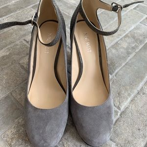 Nine West- Gray heels with ankle strap- size 8